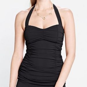Lands End Beach Club Princess Tankini Top 8 Black